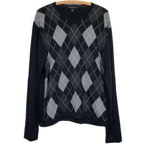 Banana Republic Black Gray Argyle V Neck Sweater